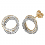 Cubic Zirconia 9ct two colour gold interlinked hoop stud earrings